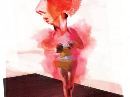 running in the heat editorial illustration