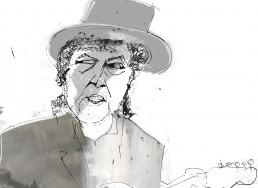 expressive illustration of bob dylan